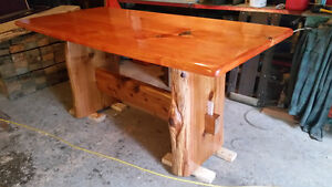 Live edge counter height harvest table