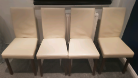 Cream wood chairs x 4