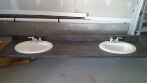 """new 80"""" dual sink vanety counter top, sink and taps included"""