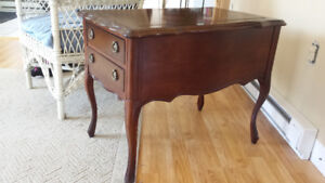 Antique side table, Solid wood with brass pulls