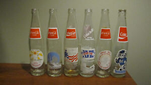 REDUCED - Six Tallneck empty Coca-Cola bottles - from 1980's