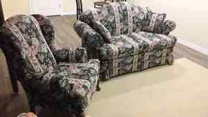Loveseat and wing back chair