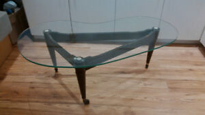 all original 50's glass top coffee table