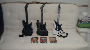 GUITAR HERO FOR PS2 --- 4 GAMES & 3 GUITARS