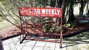 Antique 50s Star Weekly sign Bicycle rack