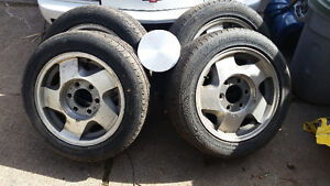 Chevy Z71 wheels with decent tires. Mazda b2200 setup