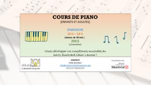Cours privés de piano (tous niveaux et tous âges)