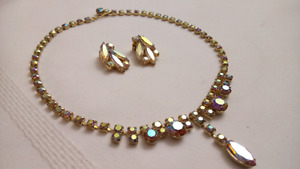 Vintage Aurora Borealis Necklace and Earrings