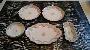 """Austrian and Nippon """"Bridal Rose"""" dishes"""