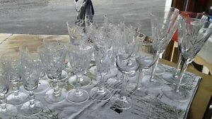 REDUCED TO SELL 21 CRYSTAL STEM GLASSES
