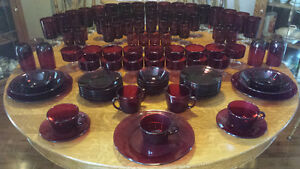 114 PCS Ruby Reds~Don't Miss Out On These Dishes from 1970's!