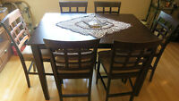 PUB STYLE TALL DINING ROOM TABLE AND 8 CHAIRS EXPANDABLE EIGHT