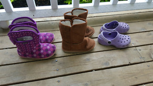 Girls boots and crocs