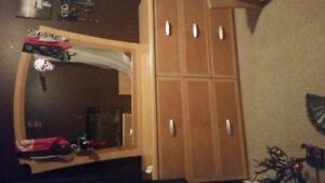 Full size dresser with queen size bed frame $120