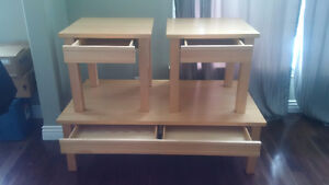 SOLID MAPLE COFFEE TABLE AND MATCHING END TABLES