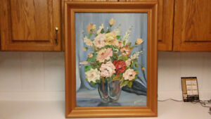 Listed Canadian artist Joan Richert flowers oil painting
