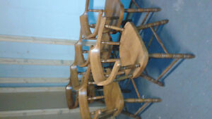 6 oversized solid wooden chairs