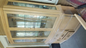 Solid wood china cabinet with lights