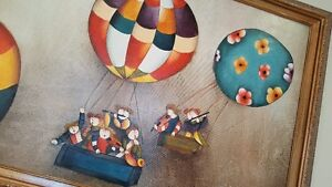 3 colourful, whimisical framed paintings - can sell separately