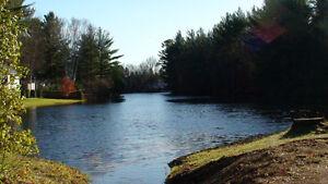 Terrain en pointe au bord de l'eau, vue sur lac