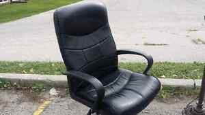 Black Leather Computer Desk Chair