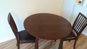 Brown Kitchen/ Dining Table with Two Brown leather Chairs
