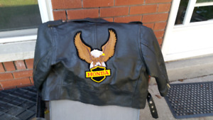 Childrens leather motorcycle jacket and helmet