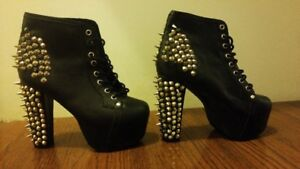 Jeffery Campbell Black Leather Spiked Lita Boots