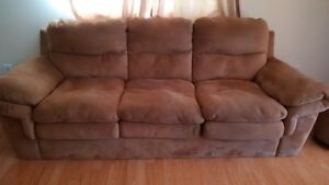Faux Suede Couch and ottoman