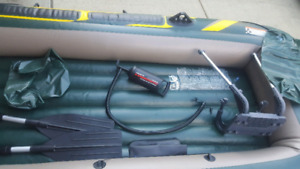 1050 lbs capacity inflatable boat.