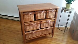 Commode en osier, 6 tiroirs | Wicker Chest, 6-drawer