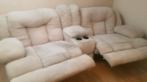 microfibre Double Reclining Couch with Centre Console