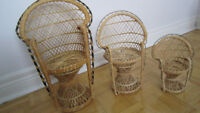 3 rattan doll chairs ( from 12'' to 18'' doll )