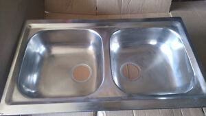 New stainless double kitchen sinks
