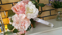 Artificial wedding bouquets and boutineers