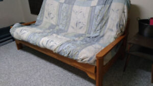 Queen futon with twin bunk bed