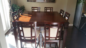 COUNTER HEIGHT DINING TABLE W/ 8 CHAIRS