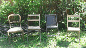 Antique Vintage Set of 3 Folding Chairs and Set of 3 Cane Chairs