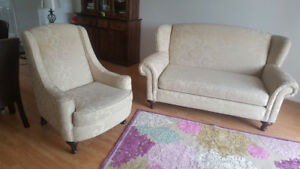 Beautiful jacquard settee/sofa and chair set - MUST GO
