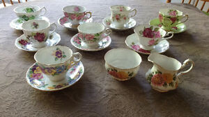 Bone China cups and saucers and creamer and sugar