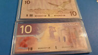Rare 1989 and 2001 Uncirculated Canadian $10.00 notes with same