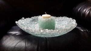 Blue Art glass Bowl and Candle holder