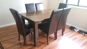 Solid timber dining table and 6 chairs