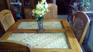 solid oak table chairs and buffet set