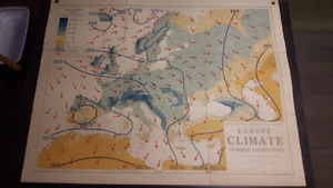 Two LRG Vintage Philips' Comparative Wall Atlas of Europe 1940's
