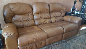 Set of two duel reclining leather couches