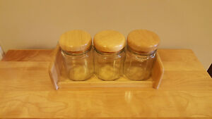 Air Tight Glass Kitchen Jars with Wooden Storage Shelf
