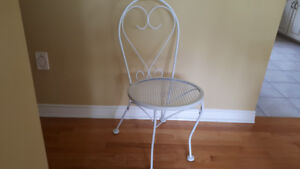 White wrought iron chair