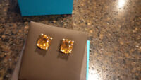 BIRKS Citrine cabochon 18K yellow gold earrings