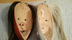2 IROQUOIS MASKS - BASSWOOD CARVED, NUMBERED